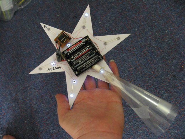 The backside of the completed Christmas Star.