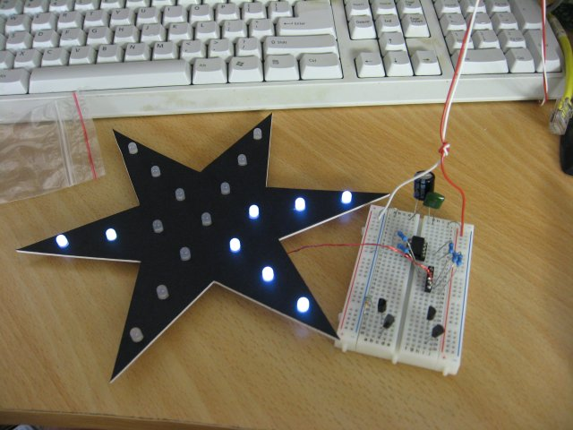 The Christmas Star during software development.