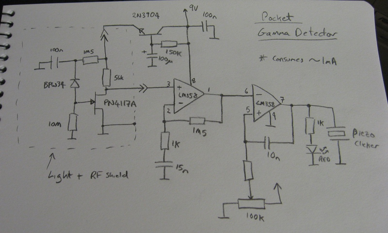 Circuit Diagram of the Pocket Photodiode Gamma Detector