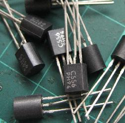 A small pile of BC556 transistors