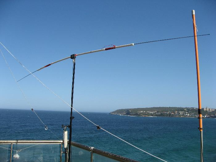 The Ozi-pole on my Balcony, North Head in the background